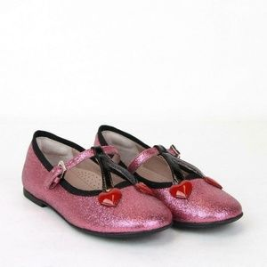 Brand New Gucci Shimmer Ballet Flats with Hearts